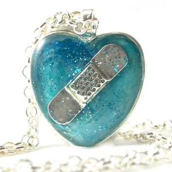 Aqua Bandaid Necklace