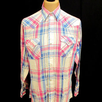 Retro Light Pink Summer Western Check Shirt M