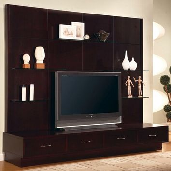 A.M.B. Furniture & Design :: Living room furniture :: Entertainment centers :: Espresso finish wood contemporary style TV entertainment center wall unit with clean lines and storage drawers