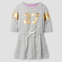 Baby Girls' 3/4 Sleeve Drawstring Jersey Dress Heather Grey - Cat and Jack™