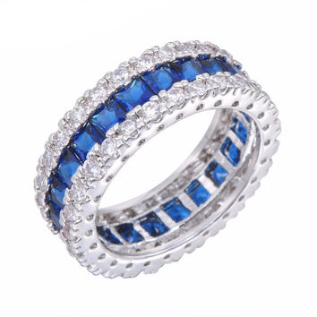 Blue Zircon Women Men Finger Ring White Gold Filled Wedding Party Engagement Rings Jewelry Bijoux