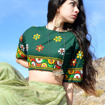 embroidered green cotton crop top