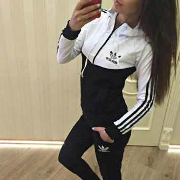 "2016 ""Adidas"" Fashion Hooded Patchwork Stylish Sports Sportswear Set (5 colors)"