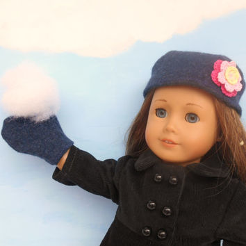 Felted Wool Hat and Mittens, Dark Blue Russian Style Hat, Upcycled, fits 18 Inch Dolls such as American Girl, Winter Doll Clothes, Upcycled