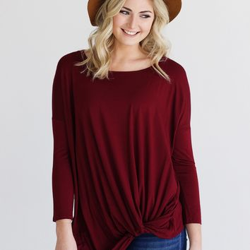 Burgundy DLMN Long Sleeve Twisted Top