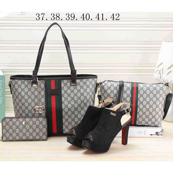 LV LOUIS VOITTON 2018 Women's Premium 4-piece Heels & Leather Tote F-KSPJ-BBDL Black bag
