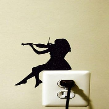 Violin Girl Vinyl Switch Sticker