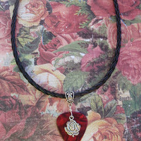 Rose Leather Necklace, Sweetheart Guitar Pick Jewelry, Tibetan Silver Fancy Bail, Custom Color & Size, Valentines Day Bridesmaid