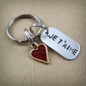 Je T'aime Keychain - French I Love You - Red Heart Key Ring - Anniversary Gift - Valentine's Day Gift - Long Distance Relationship Gift