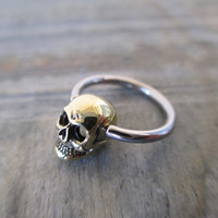 Brass Skull Captive Ball Ring Cartilage or Nipple Piercing 14G (1.6mm) or 16G (1.2mm)