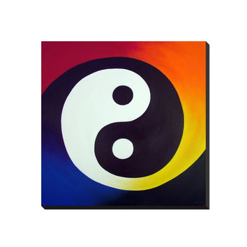 Balance - Wrapped Canvas of Rainbow Yin Yang Acrylic Paint Fine Art