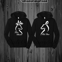 Her Buck His Doe Couples Black Hoodie