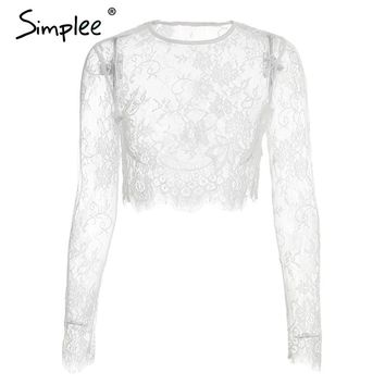 Simplee Sexy floral lace women black crop top Hollow out long sleeve camisole Elegant mesh o neck short tank female