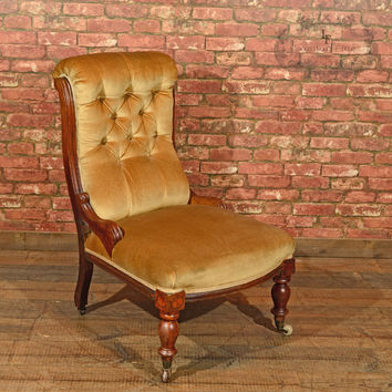 Victorian Walnut Side Chair, Upholstered, c.1880