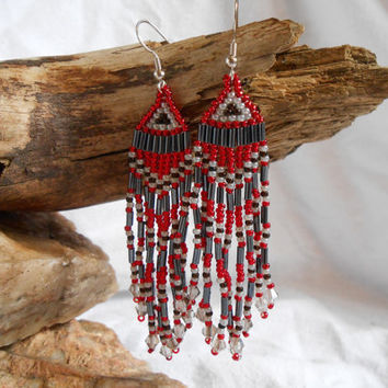 Hand Beaded Fringe Earrings, Brick Stitch, Red and Black Czech Glass Seed Beads, Swarovski Crystal, Native American Inspired, Handmade