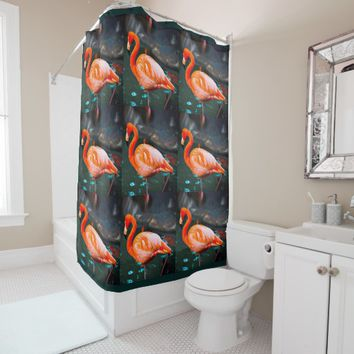 Chic, modern, trendy orange & pink flamingos photo shower curtain