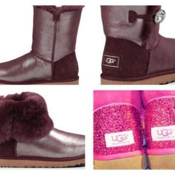 ICIK8X2 Custom UGG Boots made with Swarovski Bailey Button Bling Shimmer Free: Shipping, Repai