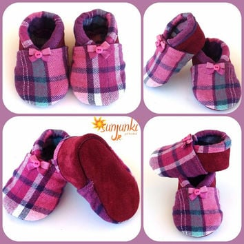 Leather Suede Baby Moccasin Slipper Pink Baby Bootie Girl Shoe Soft Sole Infant Toddler Soft Sole Suede Crib Shoe Baby Shower Gift