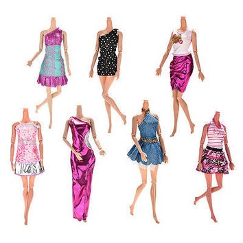 7 Pcs Fashion Wedding Dress Party Gown Clothes Outfits For Barbies Girls HU
