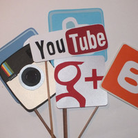 Photo booth props: social media, facebook instagram,twitter,youtube,google and blogger