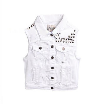 Solid White Denim Jean Vest For Women 2017 Runway Women Fashion Vest Outwear Streetwear Buttons Pockets Punk Vest Tops