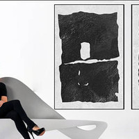 Set of 2 minimal painting on canvas handmade Original Acrylic Painting black and white Modern large wall decor contemporary art