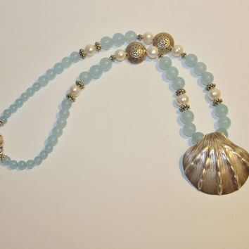 Artisan Large Karen Hill Tribe Silver Sea Shell Pendant with Silver  and Sky Blue Chalcedony Beads Necklace