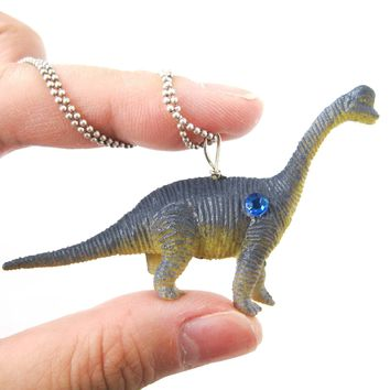 Diplodocus Brontosaurus Long Neck Dinosaur Pendant Necklace in Blue | Animal Jewelry