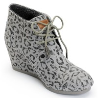 Toms Ash Snow Leopard Canvas Desert Wedge Shoes