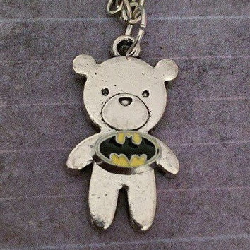 Bat Bear Necklace, Superhero Necklace, Superhero Jewelry, Fandom Jewelry, Fangirl Jewelry, Bat Superhero Jewelry
