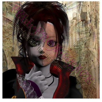 "Goth / steampunk card, original artwork digital collage greeting card, creepy cracked doll - approx 6"" square"