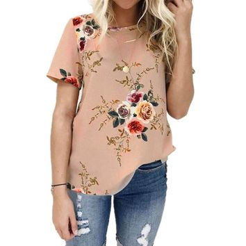 Women's Casual Plus Size Short Sleeve Crew Neck Floral T-Shirt