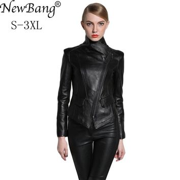 NewBang Brand Fashion Spring Women Genuine Leather Jackets Sheepskin Black Zippers Turn Down Collar  Motorcycle Coat