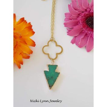 Long Chrysoprase Arrowhead and Brass Necklace