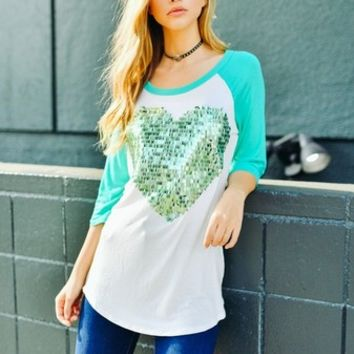 Greer Sequin Heart Raglan - Mint (S,M,L)