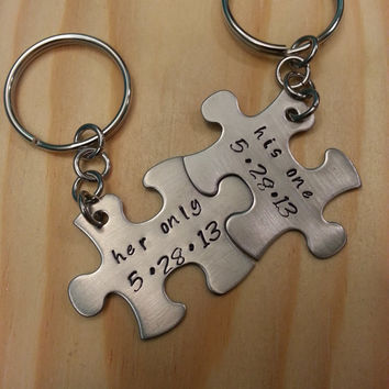 Hand Stamped Keychain - Personalized Keychain His One Her Only with Dates Couples Puzzle Piece