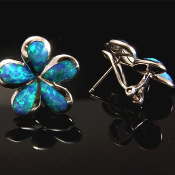 INLAY OPAL SILVER 925 HAWAIIAN PLUMERIA EARRINGS FRENCH CLIP OMEGA 20MM - 25MM