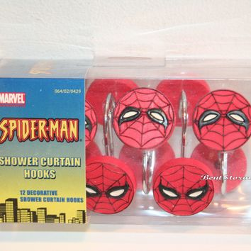 Licensed cool Marvel Spiderman Spider Man Web Red 12 Bathroom Shower Curtain Hooks Licensed