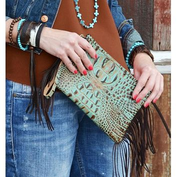 Turquoise and Brown Leather Gator Purse Hand Crafted