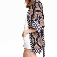 Floral Print Sleeve Kimono With Belt