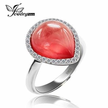 5.9ct Natural Red Argentine Rhodochrosite GemStone Rings Famous Designer Jewelry For Women Real Pure Solid 925 Sterling Silver