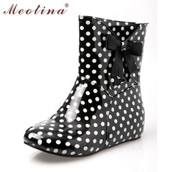 Meotina Shoes Women Rain Boots Ankle Boots Shoes Fashion Round Toe Low Heels Boots Spring Summer Polka Dot Large Size 34 43 9 10