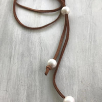 Leather pearl necklace, suede and leather, pearl leather necklace, choker, pearl jewelry, pearl choker, gift for mom