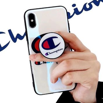 Champion New Fashionable Women Men Luxury Blue-Ray Mobile Phone Cover Case For iphone 6 6s 6plus 6s-plus 7 7plus 8 8plus X White