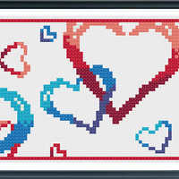 Love Hearts Cross Stitch Pattern,PDF Counted Cross Stitch pattern