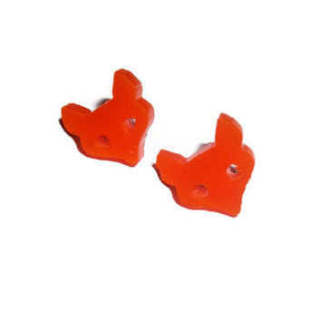 Fox Stud Earrings, Petite Laser Cut  Orange Studs