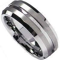 Tungsten Carbide Unisex Wedding Band 7MM Matt Finish Grooved Comfort Fit (Available in Sizes 8 to 12)