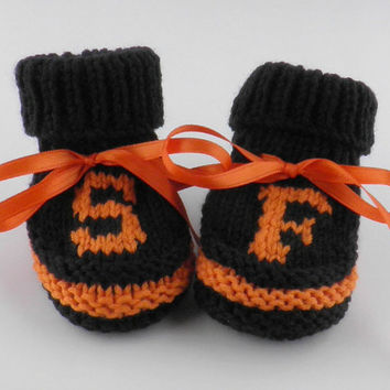 San Francisco Giants Baby Booties Baby Boy Booties Baby Shower Gift Made to Order Size 0 to 3 Months