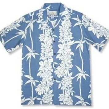 bamboo blue hawaiian rayon shirt