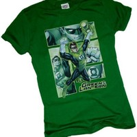 Green Lantern -- Comic Panels -- Justice League Crop Sleeve Fitted Juniors T-Shirt